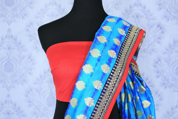 Buy blue embroidered Banarasi silk saree with zari buta online in USA. Make your Indian saree collection exquisite with beautiful Indian designer sarees, Banarasi sarees available at Pure Elegance clothing store in USA or shop online.-blouse pallu