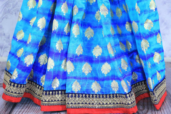 Buy blue embroidered Banarasi silk saree with zari buta online in USA. Make your Indian saree collection exquisite with beautiful Indian designer sarees, Banarasi sarees available at Pure Elegance clothing store in USA or shop online.-pleats