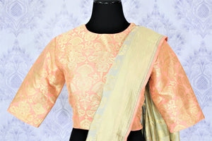 Buy pastel green Muga Banarasi saree with saree blouse online in USA. Make your Indian saree collection exquisite with beautiful Indian designer sarees, Banarasi sarees available at Pure Elegance clothing store in USA or shop online.-blouse pallu