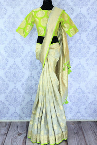 Buy pastel blue Muga Banarasi sari online in USA with saree blouse. Make your Indian saree collection exquisite with beautiful Indian handloom sarees, Banarasi sarees available at Pure Elegance clothing store in USA or shop online.-full view