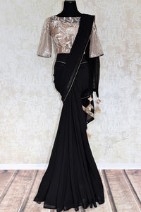 Buy online black net pure georgette saree in USA with embroidered blouse. Elevate your Indian style with an alluring collection of Indian designer sarees, Bollywood sarees available at Pure Elegance Indian fashion store in USA or shop online.-full view
