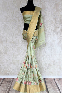 Buy beautiful pista green tussar silk saree online in USA with resham embroidery. The alluring drape is a unique choice for festive and special occasions. For more such traditional Indian handloom sarees in USA, shop from the exquisite collection at Pure Elegance Indian clothing store.-full view