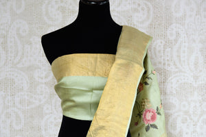 Buy beautiful pista green tussar silk saree online in USA with resham embroidery. The alluring drape is a unique choice for festive and special occasions. For more such traditional Indian handloom sarees in USA, shop from the exquisite collection at Pure Elegance Indian clothing store.-blouse pallu