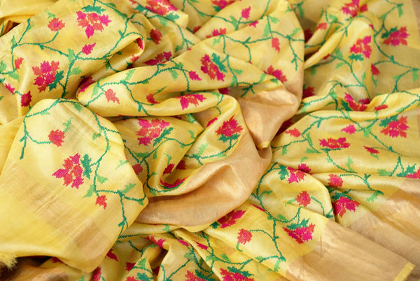 Buy yellow tussar silk saree online in USA with resham floral embroidery. The classic drape is a perfect choice for festive and special occasions. For more such Indian designer sarees in USA, shop from the exquisite collection at Pure Elegance Indian clothing store.-details