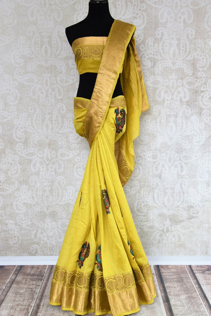 Buy yellow muga Banarasi sari online in USA with applique work. The beautiful saree is a perfect choice for festive and special occasions. For more such Indian designer sarees in USA, shop from the exquisite collection at Pure Elegance Indian clothing store.-full view