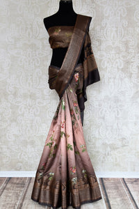 Buy brown printed muga Banarasi saree online in USA. The beautiful saree is a perfect choice for festive and special occasions. For more such Indian designer sarees in USA, shop from the exquisite collection at Pure Elegance Indian clothing store.-full view