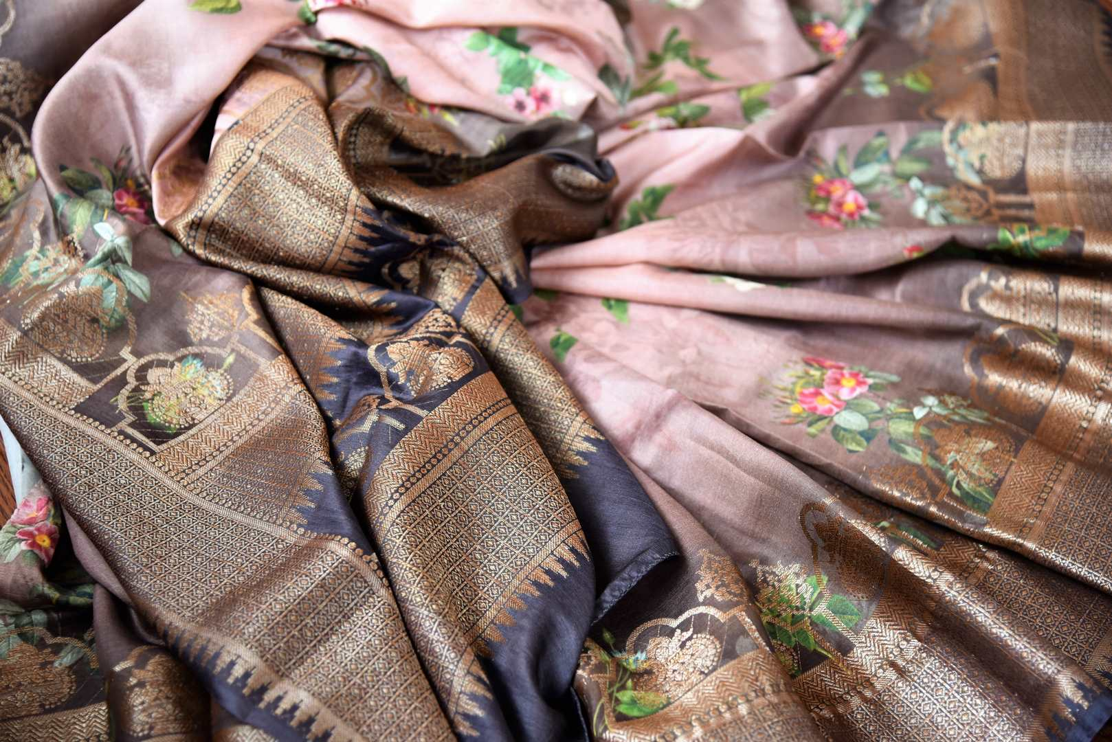 Buy brown printed muga Banarasi saree online in USA. The beautiful saree is a perfect choice for festive and special occasions. For more such Indian designer sarees in USA, shop from the exquisite collection at Pure Elegance Indian clothing store.-details
