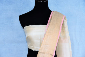 Buy online off-white embroidered Maheshwari silk saree in USA with golden border. The handwoven sari is a graceful choice for special occasions. Add more such beautifully woven Indian sarees to your ethnic wardrobe from Pure Elegance exclusive Indian clothing store in USA or shop online.-blouse pallu