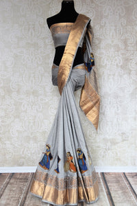 Buy elegant grey muga Banarasi saree online in USA with applique work. The saree is a classic choice for parties and special occasions. For Indian women in USA, Pure Elegance brings a range of stunning Indian handloom saris online and at their exclusive fashion store in USA.-full view