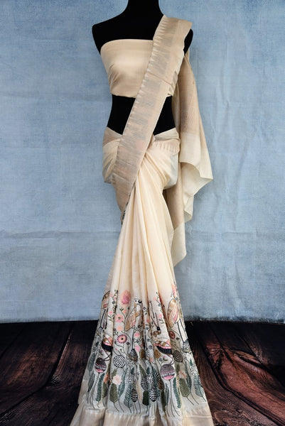Buy off-white tussar silk saree online in USA. The saree is adorned with unique design which makes it absolutely one of a kind. Add more such beautiful Indian handloom sarees to your ethnic wardrobe from Pure Elegance exclusive Indian clothing store in USA or shop online.-full view