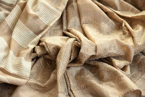 Buy beige embroidered tussar saree online in USA. The saree is adorned with delicate embroidery which makes it absolutely one of a kind. Add more such beautiful Indian handloom sarees to your ethnic wardrobe from Pure Elegance exclusive Indian clothing store in USA or shop online.-details