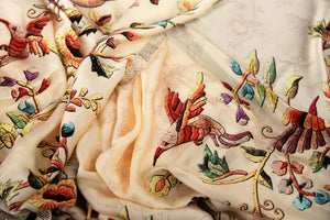 Shop this contemporary white floral printed crepe silk saree online or visit Pure Elegance store in USA. Handprinted floral work with sequins woven on the border for an elegant look makes it a perfect pick for weddings and parties. Shop designer silk saris with fine details at Pure Elegance store in USA. - details