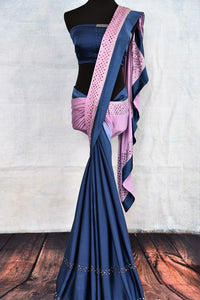 Buy blue and purple stonework designer crepe saree online in USA. The saree comes with a matching stonework saree blouse piece. Add more such beautiful Indian designer sarees to your ethnic wardrobe from Pure Elegance exclusive Indian clothing store in USA or shop online.-full view