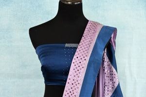 Buy blue and purple stonework designer crepe saree online in USA. The saree comes with a matching stonework saree blouse piece. Add more such beautiful Indian designer sarees to your ethnic wardrobe from Pure Elegance exclusive Indian clothing store in USA or shop online.-blouse pallu