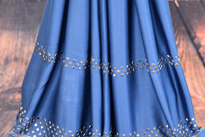 Buy blue and purple stonework designer crepe saree online in USA. The saree comes with a matching stonework saree blouse piece. Add more such beautiful Indian designer sarees to your ethnic wardrobe from Pure Elegance exclusive Indian clothing store in USA or shop online.-pleats