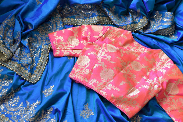 Buy blue ticki work silk sari online in USA with saree blouse. Beautifully designed saree is a captivating choice for weddings and parties. Shop Indian wedding sarees with blouses in USA from an alluring collection available at Pure Elegance fashion store-details