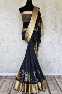 Shop beautiful black muga silk saree online in USA with applique work. Make your ethnic wardrobe rich with traditional Indian silk sarees available at Pure Elegance exclusive clothing store in USA or shop online.-full view