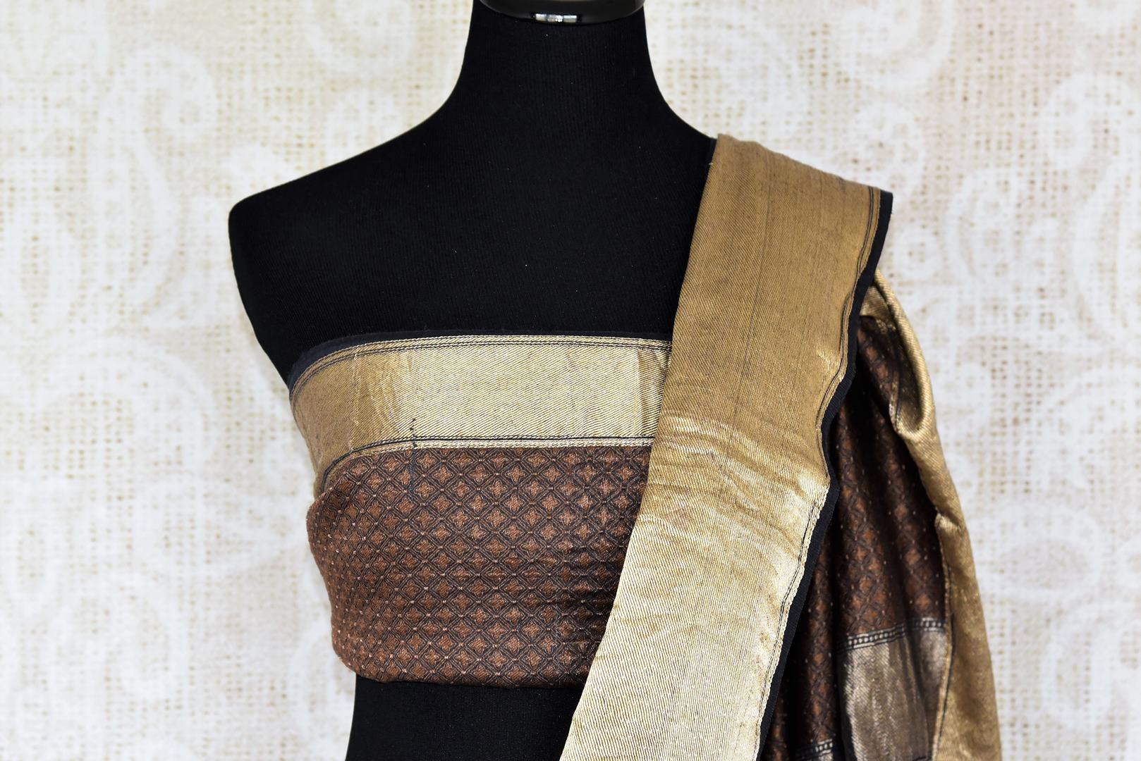 Shop beautiful black muga silk saree online in USA with applique work. Make your ethnic wardrobe rich with traditional Indian silk sarees available at Pure Elegance exclusive clothing store in USA or shop online.-blouse pallu