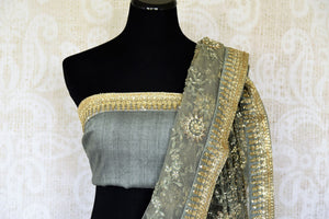 Experience the goodness of pastels and fancy drama with our exquisitely designed green net saree. The intricate tikki floral embroidery complemented with a gorgeous designer blouse is perfect for weddings and parties. Shop handloom sarees, georgette saris, printed sarees online or visit Pure Elegance store, USA. -blouse pallu