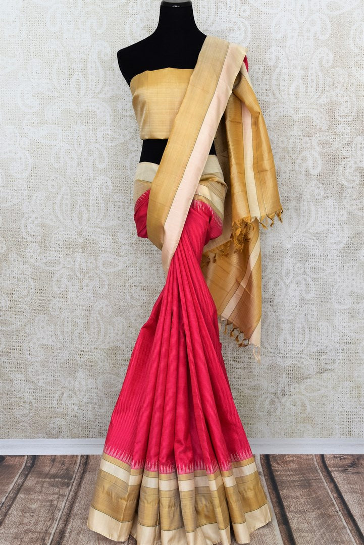Elegant pink Kanjivaram silk saree buy online in USA. It comes with an embroidered saree blouse to elevate your Indian sari look. If you are looking for Indian designer silk sarees in USA, then Pure Elegance clothing store is your one-stop solution, shop now.-full view