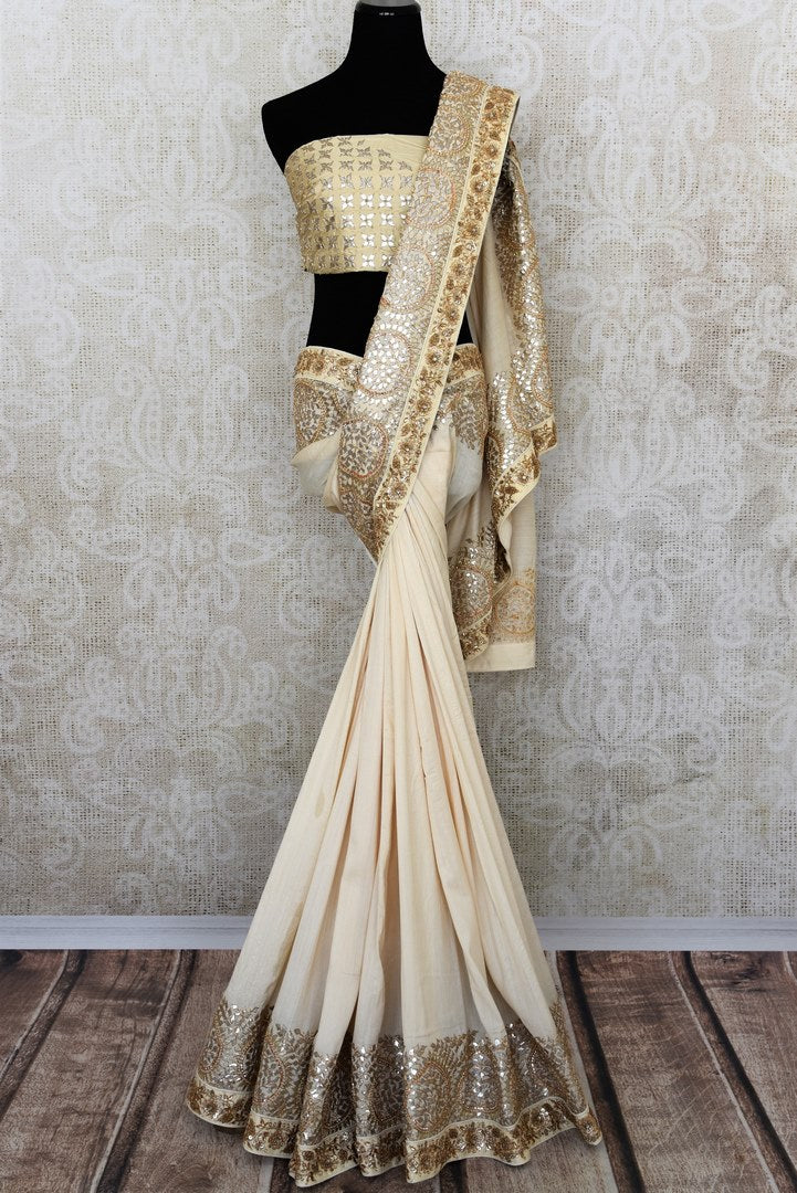 Beautiful off white gota patti embroidery tussar georgette sari buy online in USA.  If you are looking for Indian designer wedding sarees in USA, then Pure Elegance clothing store is your one-stop solution, shop now.-full view
