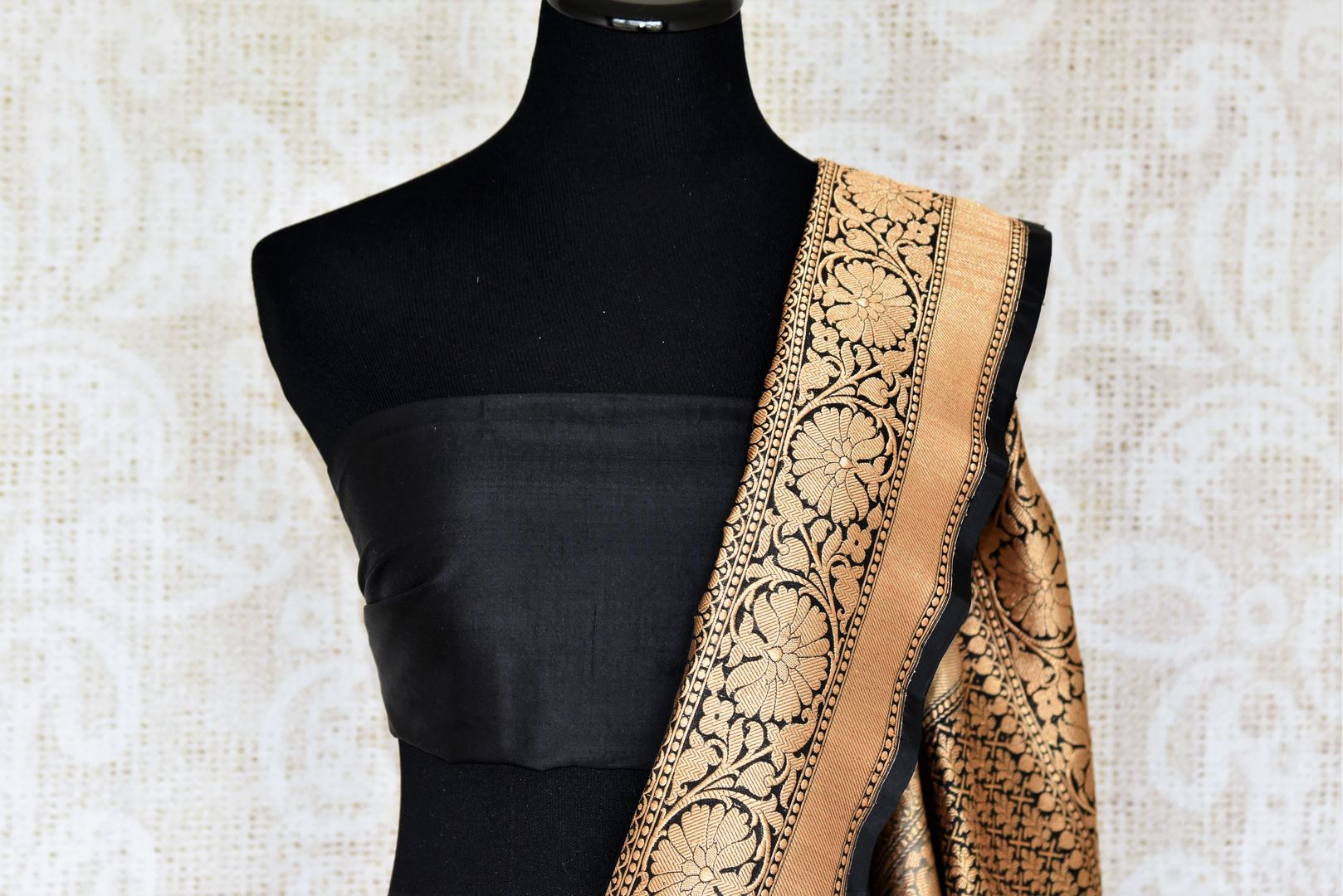 Shop beautifully handcrafted cream banarsi silk sari with buti work all over complemented with a heavy silk pallu and contrasting black blouse. This authentic silk saree is a must-have for every Indian woman. Shop designer silk sarees, handloom saris, Indian dresses online or visit Pure Elegance store in USA. -blouse pallu