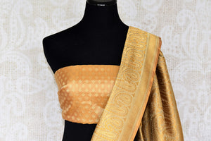 Celebrate festivals and weddings in our modern infused traditional cream banarsi silk saree hand woven to exude perfection and class. The gorgeous ethnic ensemble is handcrafted with authentic and rich silk weaves. Shop designer silk sarees, Indian dresses, handloom saris online or visit Pure Elegance, USA. - blouse pallu