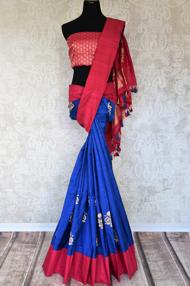 Traditional blue Banarasi silk sari buy online in USA with zari buta. The saree is sure to bring richness to your Indian ethnic look. If you are looking for Indian designer silk sarees, Banarasi sarees in USA, then Pure Elegance clothing store is your one-stop solution, shop now.-full view