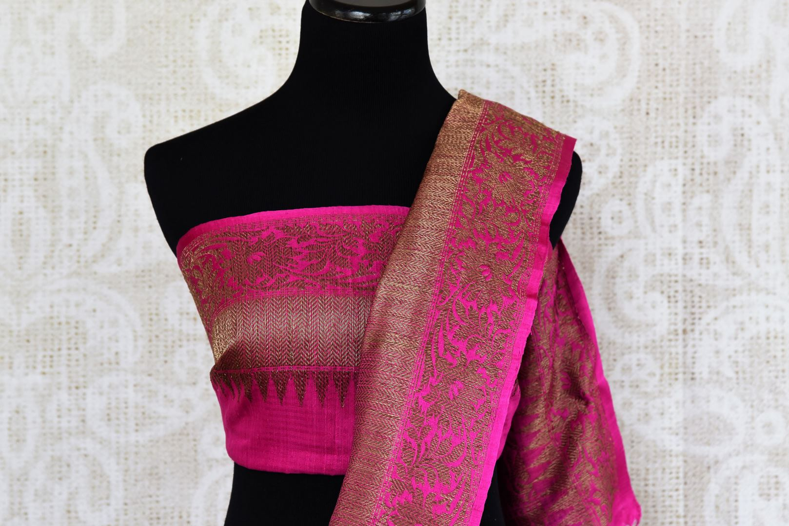 Buy orange tussar katan Banarasi sari online in USA with antique zari border. The saree is a perfect traditional drape for parties and festivals. Spoil yourself with an exquisite collection of Indian Banarasi sarees in USA available at Pure Elegance Indian clothing store. -blouse pallu