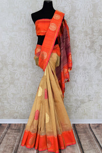 Shop beautiful beige Kora Banarasi saree online in USA with zari buta. Make your ethnic wardrobe rich with traditional Indian Banarasi saris available at Pure Elegance exclusive clothing store in USA or shop online.-full view