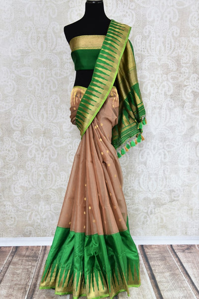 90F778 Brown and Green Organza Banarasi Saree with Buta