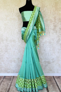 cd4d34a48f Emanate elegance in this sartorial designer pastel green jute banarsi silk  sari with subtle pyramid embroidery