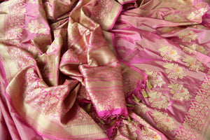 Buy online traditional pink Banarasi silk sari with floral zari buta online in USA. The saree is a stunning drape for an ethnic Indian look at weddings and special occasions. Find more such exquisite Indian silk sarees, handloom saris in USA at Pure Elegance Indian fashion store. Shop now.-details