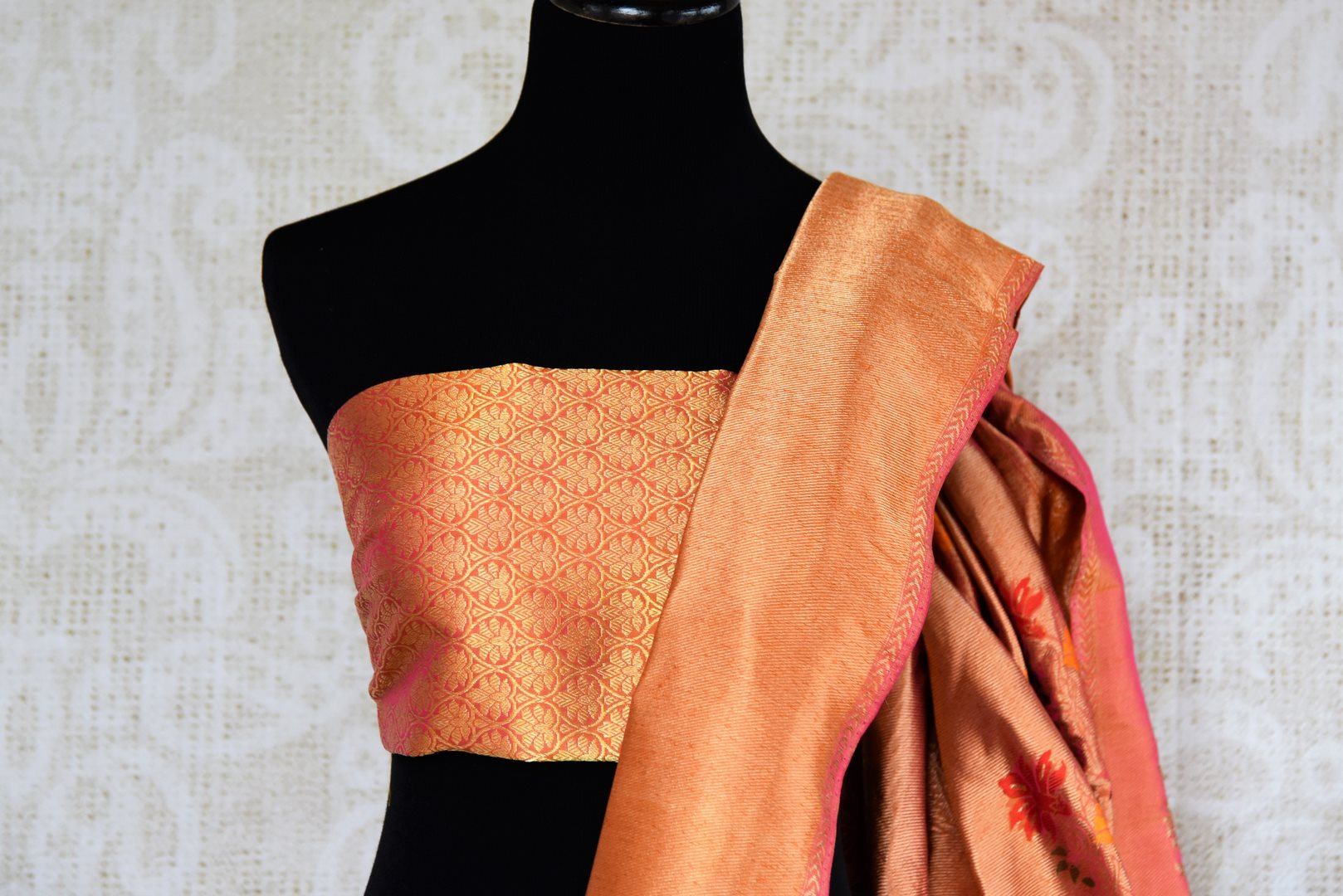 Buy online yellow Banarasi silk saree in USA with zari border. The saree is a rich drape for a traditional wedding look. If you are looking for Indian handloom sarees, Banarasi silk saris in USA, then Pure Elegance is the place for you. Shop online or visit our exclusive fashion store in USA.-blouse pallu