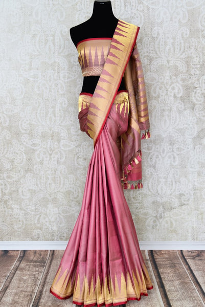 Purple Banarasi silk saree with temple design border buy online in USA. The saree is an elegant choice for special occasions. If you are looking for Indian designer silk sarees, Banarasi sarees in USA, then Pure Elegance clothing store is your one-stop solution, shop now.-full view