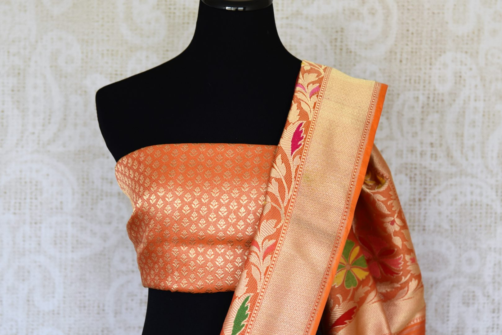 Buy traditional red Banarasi silk saree online in USA with floral zari border. The saree is a rich choice for a traditional wedding look. If you are looking for Indian designer silk sarees, Banarasi sarees in USA, then Pure Elegance clothing store is your one-stop solution, shop now.-blouse pallu