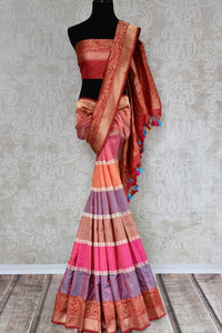 Buy multicolor Banarasi silk saree with zari border online in USA. The saree is a stunning drape for an ethnic Indian look at weddings and special occasions. Find more such exquisite Indian silk sarees, Banarasi sarees in USA at Pure Elegance Indian fashion store. Shop now.-full view