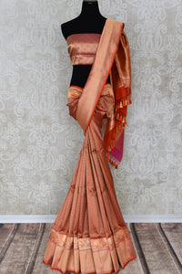 Buy traditional red Banarasi silk saree online in USA with overall zari work. The saree is a rich drape for weddings and special occasions. If you are looking for Indian designer sarees, Banarasi silk saris in USA, then Pure Elegance clothing store is your one-stop solution, shop now.-full view