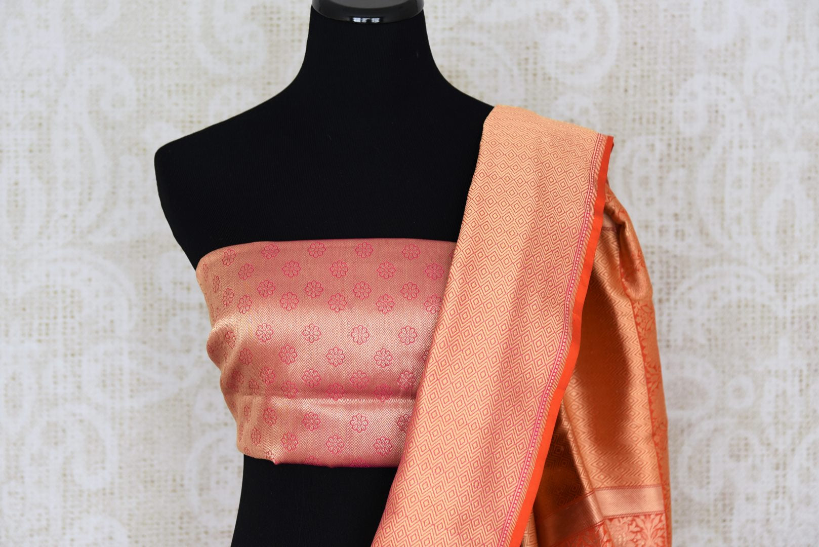 Buy traditional red Banarasi silk saree online in USA with overall zari work. The saree is a rich drape for weddings and special occasions. If you are looking for Indian designer sarees, Banarasi silk saris in USA, then Pure Elegance clothing store is your one-stop solution, shop now.-blouse pallu