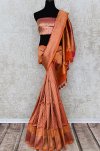 Buy beautiful red Banarasi silk sari online in USA with rich zari work. The saree is a rich drape for weddings and special occasions. If you are looking for Indian designer silk sarees, Banarasi silk saris in USA, then Pure Elegance clothing store is your one-stop solution, shop now.-full view