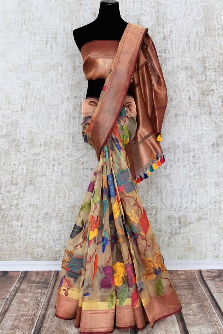 Shop beige kora tissue silk saree online in USA with copper cplor border. Make your ethnic wardrobe rich with traditional Indian silk saris available at Pure Elegance exclusive clothing store in USA or shop online.-full view