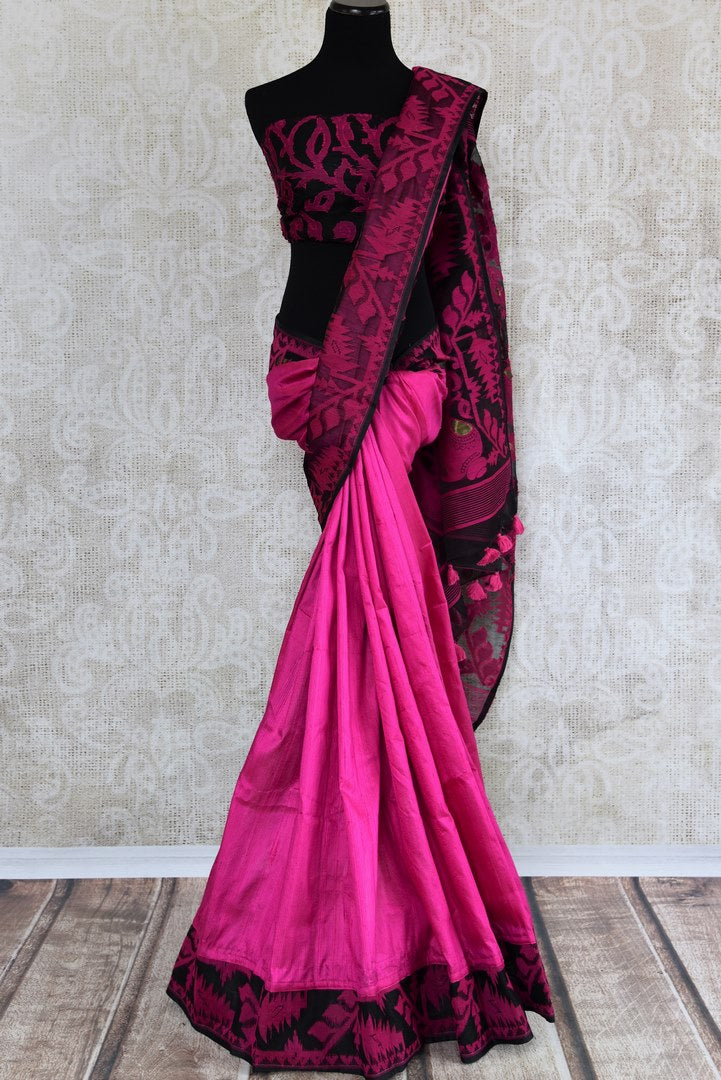 Buy pink raw silk saree with dhakai jamdani weave online in USA. The saree is a perfect drape for a traditional Indian look at special occasions. Spoil yourself with an exquisite collection of Indian handloom sarees in USA available at Pure Elegance Indian clothing store. -full view