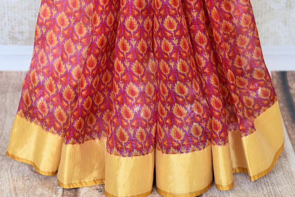 Treat yourself with the charming quintessential summer staple kota silk sari. A perfect blush pink with floral prints and effortless flow, style this sari with contrast yellow and zari blouse to work or formal events. Shop designer silk saris, embroidered sarees, ikkat sari online or visit Pure Elegance store, USA.-pleats