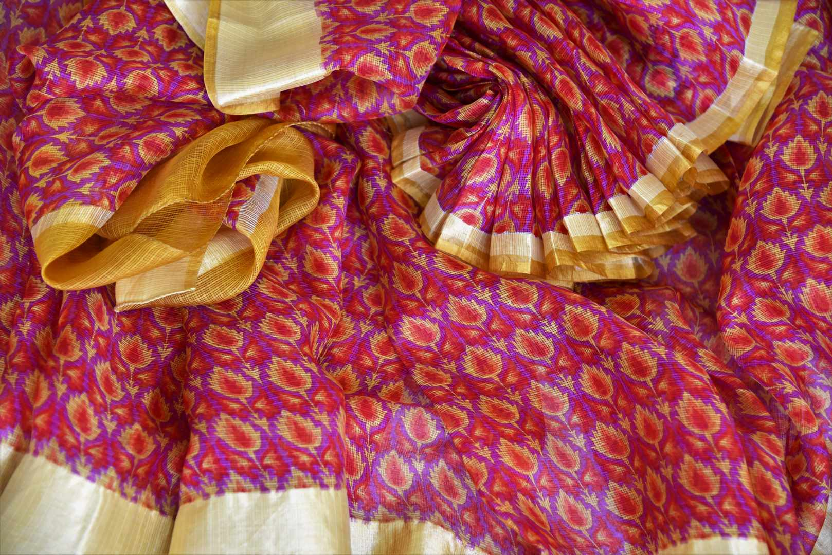 Treat yourself with the charming quintessential summer staple kota silk sari. A perfect blush pink with floral prints and effortless flow, style this sari with contrast yellow and zari blouse to work or formal events. Shop designer silk saris, embroidered sarees, ikkat sari online or visit Pure Elegance store, USA.-details