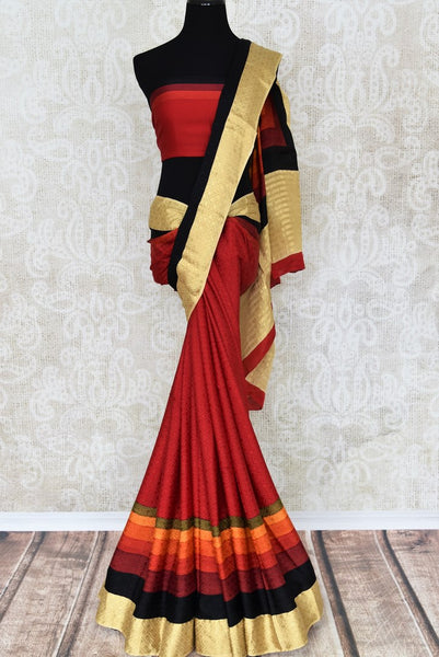 Shop red crepe silk sari online in USA with zari border weave. Make your ethnic wardrobe rich with traditional Indian silk sarees available at Pure Elegance exclusive clothing store in USA or shop online.-full view