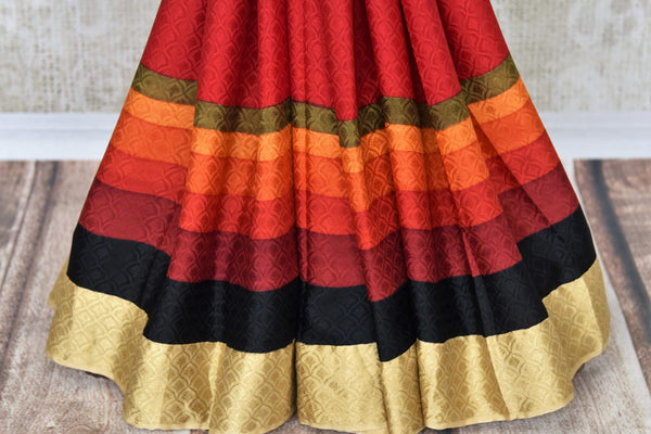 Shop red crepe silk sari online in USA with zari border weave. Make your ethnic wardrobe rich with traditional Indian silk sarees available at Pure Elegance exclusive clothing store in USA or shop online.-pleats