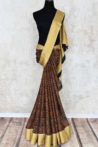 Shop dark blue printed crepe silk saree online in USA with zari border weave. Make your ethnic wardrobe rich with Indian designer silk sarees available at Pure Elegance exclusive clothing store in USA or shop online.-full view