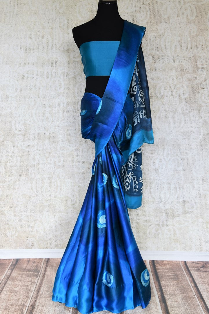 Shop online blue printed crepe silk saree in USA. Elevate your Indian style with an alluring collection of Indian designer sarees, silk sarees available at Pure Elegance Indian fashion store in USA or shop online.-full view