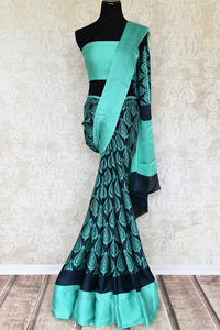 Buy online green printed crepe silk saree in USA. Elevate your Indian style with an alluring collection of Indian designer sarees, silk saris available at Pure Elegance Indian fashion store in USA or shop online.-full view