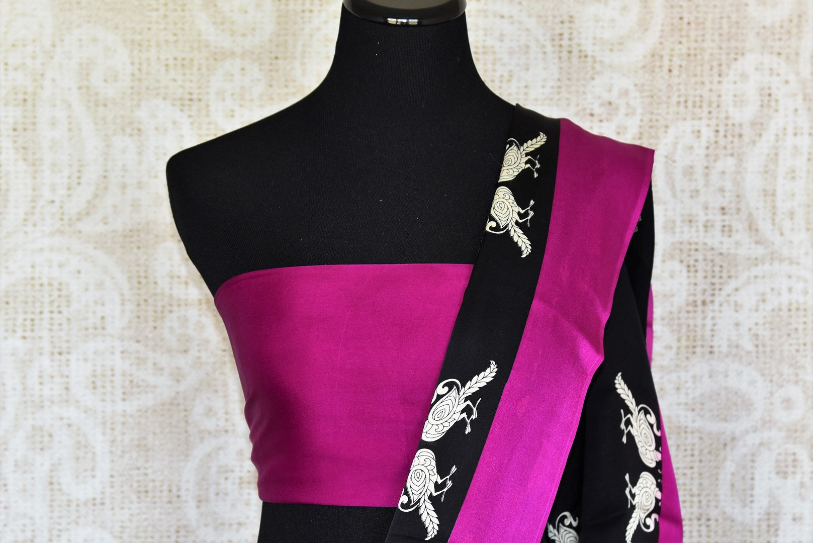 Buy black printed crepe silk sari online in USA with magenta border. Elevate your Indian style with an alluring collection of Indian designer sarees available at Pure Elegance Indian fashion store in USA or shop online.-blouse pallu